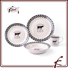 Ivory esmalte jantar pedra ware com padrão de decalque