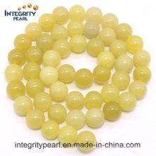 Hot-Selling New Arrival Natural Gemstone Loose Strand 4 6 8 10 12mm Natural Lemon Jade Stone áspero