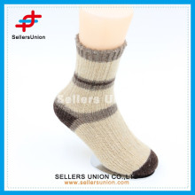 Angora wool new style coffee with cream-colored knitted casual socks