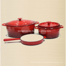 La fábrica aprobada FDA de los utensilios de cocina del arrabio del esmalte 3PCS