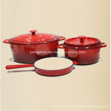 3PCS эмаль чугунная посуда набор FDA утвержден завод