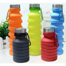 Collapsible reusable BPA Portable lightweight Leak Proof Free Silicone 18oz Water Bottle with carabiner for Travel Gym Camping