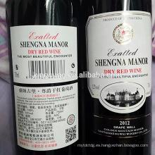impresión adhesiva personalizada tamaño de etiqueta de la botella de vino privado