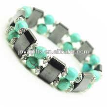 Bracelet d'espace d'hématite magnétique avec des billes rondes en alliage et 8MM Turquoise