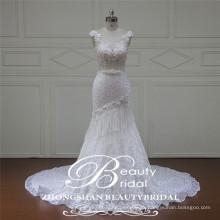 Leal marfil barco capilla tren sirena vestido de novia hecho en China 2017