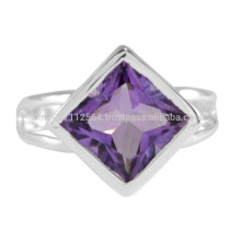 Amethyst Natural Gemstone com 925 Sterling Silver Wedding And Party Wear Ring Jewelry