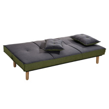 Wooden Futon Fabric 2-Seater Lounge Sofa Bed