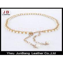 Женщина Peal Beads Hook Decoration Узкий пояс с металлической цепочкой