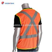 Personnalisé Logo Et Taille Hi-Viz Orange Gilets De Sécurité De La Circulation Poches Respirant Polyester Maille Réfléchissant Veste De Travail Front Tirette