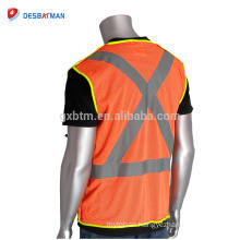 Custom Logo And Size Hi-Viz Orange Traffic Safety Vests Pockets Breathable Polyester Mesh Reflective Work Jacket Front Zipper