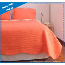 Juego de edredón de poliéster sólido naranja brillante