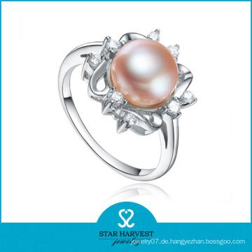 Eleganter Sterling Silber Perlen Ring (SH-R0165)
