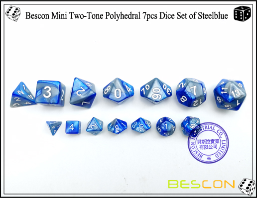 Bescon Mini Two-Tone Polyhedral 7pcs Dice Set of Steelblue-3