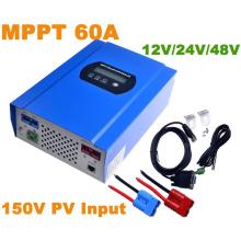 60A MPPT controlador solar con 12V / 24V / 48VDC Auto Max 150V PV Cargador de entrada de batería cargador RS232 Conector