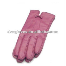 Pink Soft Women Leather Gloves