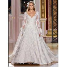 LS0126 See through back lace appliqued lace v neck wedding dresses train princess wedding dresses wedding dresses long sleeve