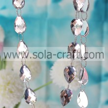 13*18MM Charm White Acrylic Teardrop Prism Spacer Mirror Faceted Beads String