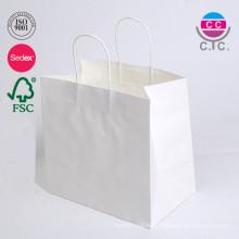 Изготовленный на заказ размер и печать Белый Крафт бумажный мешок с витой ручкой