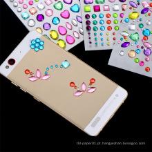 China Etiquetas autoadesivas do cristal de rocha do fabricante profissional, etiqueta da decoração do telefone móvel