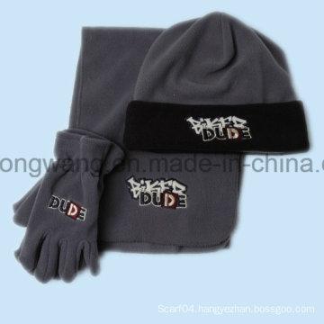 Promotion Winter Warm Lady Knitting Polar Fleece Set