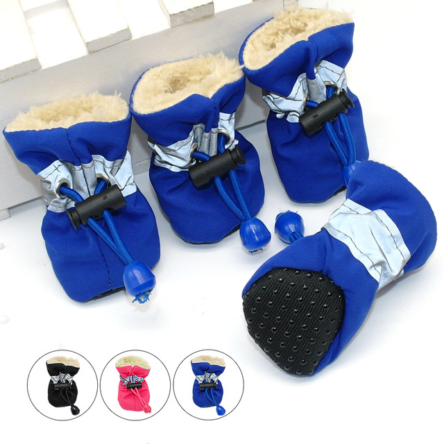 4pcs Waterproof Winter Pet Dog Shoes Anti Slip Rain Snow Boots Footwear Thick Warm For Small Jpg 640x640