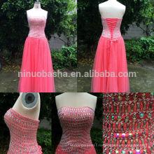 Реальный образец 2014 новое розовое без бретелек длиной до пола кружева-up тюль на заказ a-line вечернее платье с густо Изукрашенный акцент NB0537