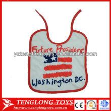 China fabricante logotipo impreso 100% algodón bebé baberos al por mayor