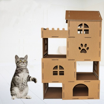 cardboard box cat houses with kraft paper