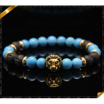 Bronze Lion Kopf Charms Armbänder, blau Türkis Mode Armbänder (CB081)