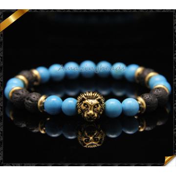 Bronce cabeza de león encantos pulseras, pulseras azules de la manera de la turquesa (CB081)
