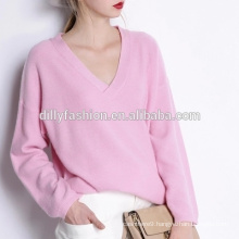Custom women plain v-neck women sweater wholesale v-neck pullover