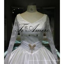 Venta al por mayor de China 2016 nupcial vestido de novia de fábrica Satén vestido de bola vestidos de novia Tienda en línea con la ilusión mangas vestido de noche