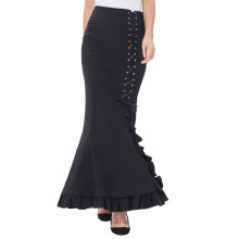 Бель вы можете остановить поиски, женщин викторианской Стиль высокий эластичный нейлон-хлопок старинные Ретро Раффлед Фиштейл Русалка черный длинная юбка BP000203-1