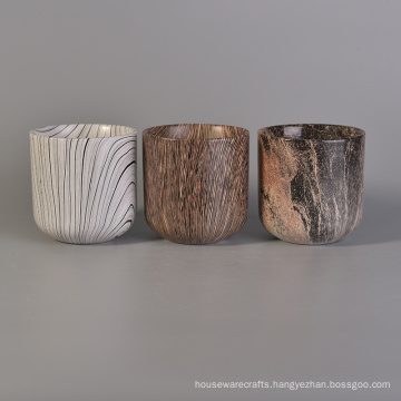 Water Transfer Patterned Ceramic Candle Holder with Various Pattern