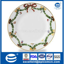 2015 hot products Christmas wreath design porcelain plates for christmas