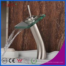 Fyeer High Body Glass Waterfall Brush Nickle Basin Faucet
