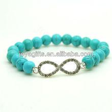 2013 turquoise 8MM Perles rondes Bracelet élastique en pierres précieuses avec Diamante 8 forme au milieu