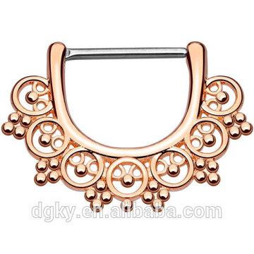 316L acero quirúrgico Rose Gold IP sobre latón pezón barbell Tribal Fan Pezón piercing Clicker Ring