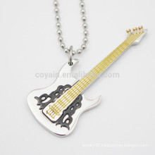 Filling Enamel Stainless Steel Silver Guitar Shaped Pendant Necklace