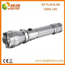 Factory Bulk Vente CE Aluminium Métal Multi-fonction Puissant 300lumen 3w / 5w Cree led Rechargeable Torch Light