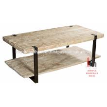 Table basse industrielle en bois et en métal de 2 étages