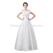New design in stock wedding dress cap shoulder laced satin ball gown sexy evening dress patterns