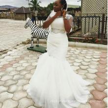 China OEM barato trompete vestidos de casamento branco africano on-line
