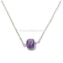 Fashion Boho Natural Stone Amethyst Layering Necklace