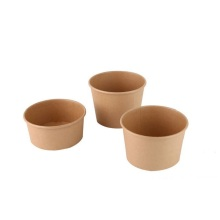 Customized design kraft food containers wholesale eco-friendly kraft 1300ml paper soup salad bowl cups with lid food paper bowl