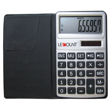 10 Digits Calculator with Euro-Convertor Function and Black Wallet (LC303EURO)