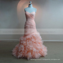 Ruffle blush pink long one piece boob tube evening dress evening dress
