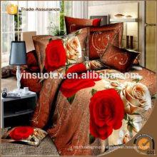 100% polyester 3D Modern bedding set Rose Flower Printed Bedroom set