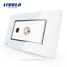 Prise TV et satellite SATV Livolo Luxur US / AU avec verre de cristal blanc perlé VL-C391VST-81