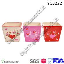 Cerâmica, quadrado, planta, potes, jogo, decorativo